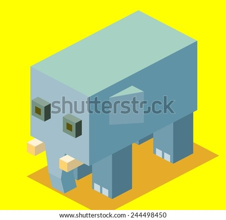 blue elephant. 3d pixelate isometric vector - stock vector