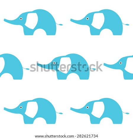 Blue Elephant Illustration. Seamless pattern. Simple kids style. Vector illustration EPS10. - stock vector