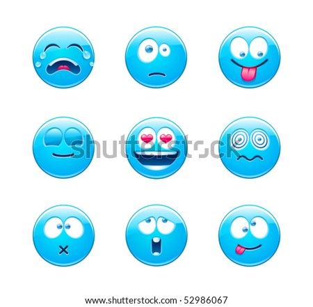 Blue emoticons - stock vector