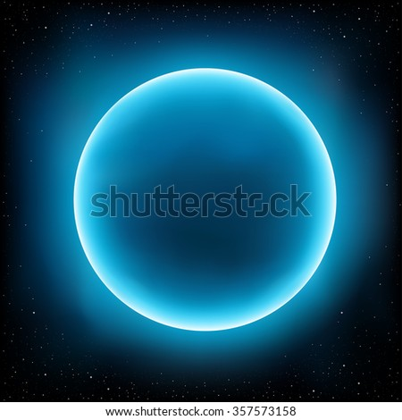 Blue empty planet design concept. Stars and space on background - stock vector