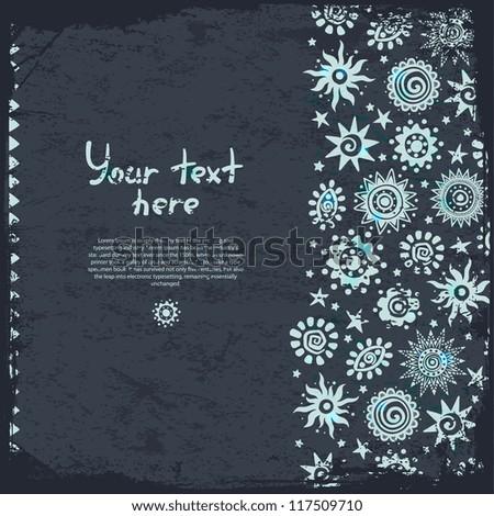 Blue Ethnic sun ornaments background - stock vector