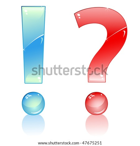 Blue Exclamation and Red Interrogation Marks. Editable Vector Image - stock vector