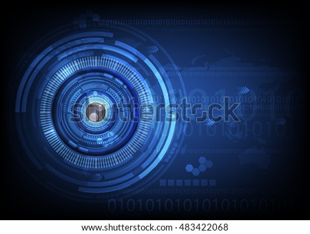 blue eye ball abstract cyber future technology concept background, illustration vector.