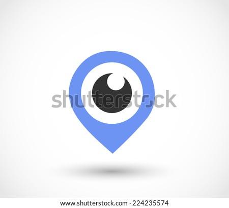 Blue eye pointer icon vector - stock vector