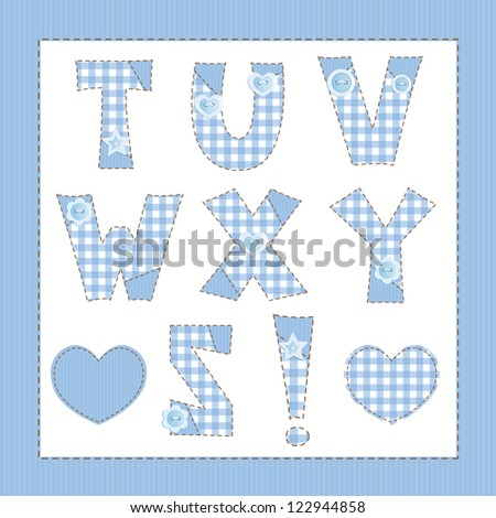 Blue fabric alphabet. Letters T, U, V, W, X, Y, Z - stock vector