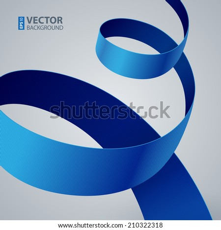 Blue fabric curved ribbon on grey background. RGB EPS 10 vector illustration - stock vector