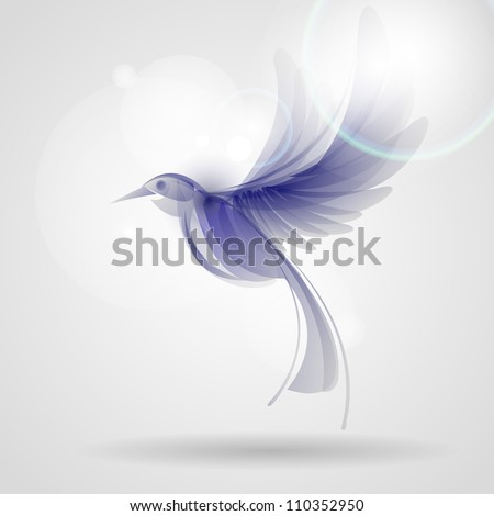 blue fantasy bird - stock vector