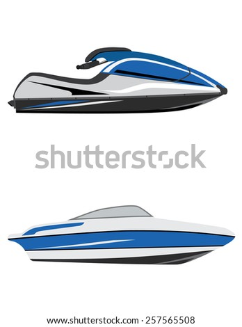 Blue fast water scooter and boat, luxury boat, jet ski, water sport, water transport - stock vector
