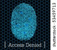blue fingerprint access denied vector illustration eps10 - stock photo