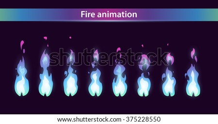 Blue fire animation sprites, vector flame video frames for game design - stock vector