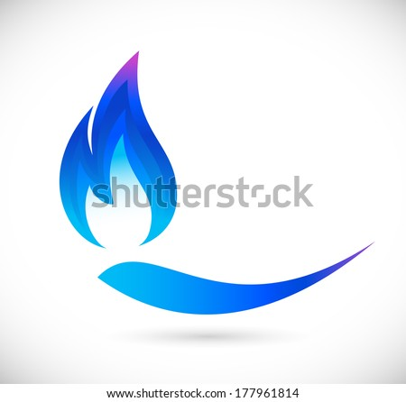 Blue fire icon - stock vector