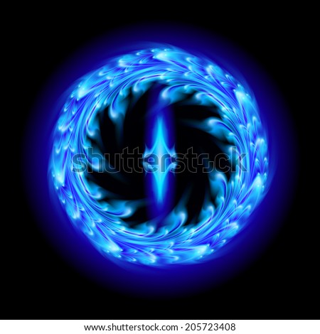 Blue fire ornate decorative floral pattern on the black background. Two swirl vertical symmetry patterns.