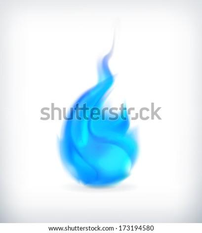 Blue fire, vector icon - stock vector