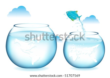 Blue Fish Jumping To Other Globe Aquarium, Isolated On White - stock vector