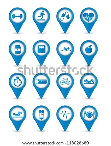 blue fitness icons over white background. vector illustration - stock vector
