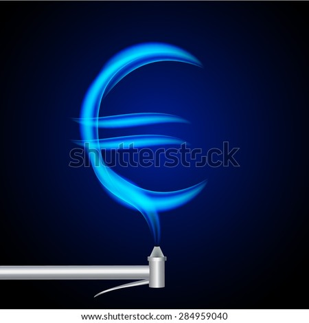 Blue Flames Natural Gas Form Euro Stock Vector 284959040 ...