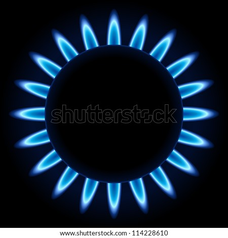 Blue flames ring of kitchen burner isolated on black background. - stock vector