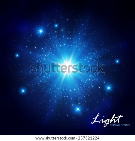 Blue flash shining star. Vector illustration