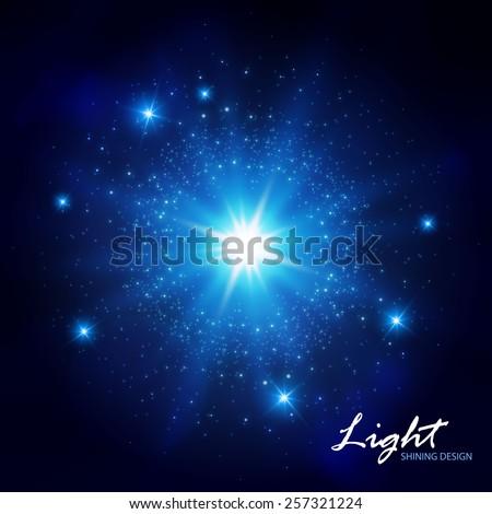 Blue flash shining star. Vector illustration - stock vector