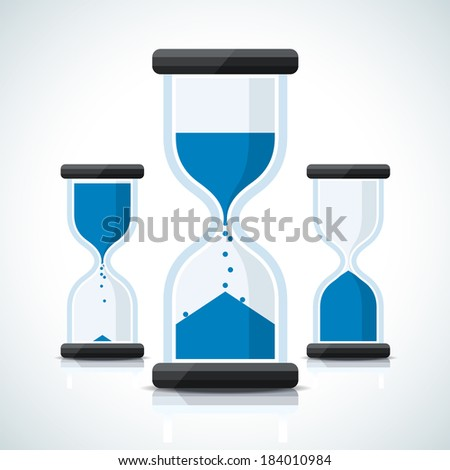 Blue flat business styled sand clock icons - stock vector