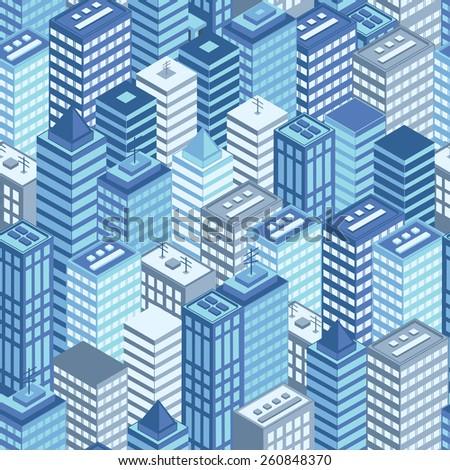 Blue flat isometric city seamless pattern. Vector illustration. - stock vector