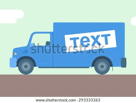 Blue flat truck with place for text