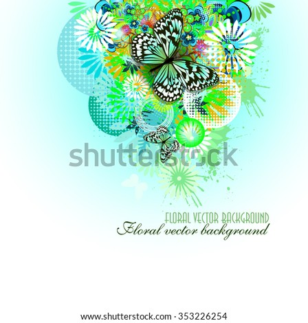 blue floral abstract background with butterflies. Vector - stock vector