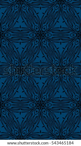 blue floral on sacred geometry pattern. vector illustration. for design invitation, wallpaper, fabric