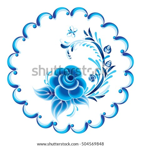 Blue floral ornament in Russian gzhel style. Ornate plate in blue.