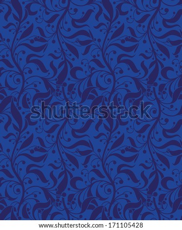 Blue floral seamless pattern for web, print, wallpaper, home decor, textile, wrapping paper, fabric, invitation background