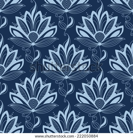 Blue floral seamless pattern in paisley indian or persian style, on dark blue colored background. Suitable for wallpaper and textile design - stock vector