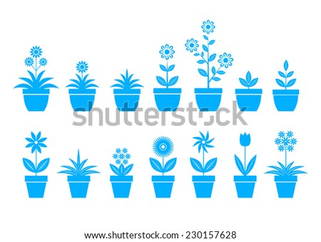 Blue flower icons on white background