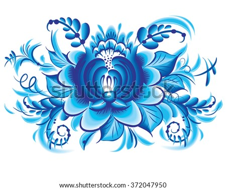 Blue flower in gzhel style - stock vector