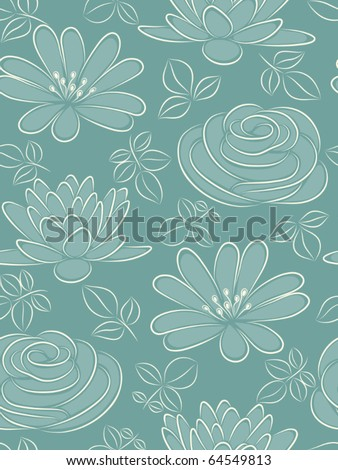 Blue flower seamless pattern. Vector illustration. - stock vector