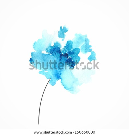 Blue flower. Watercolor floral illustration. Floral decorative element. Vector floral background. - stock vector