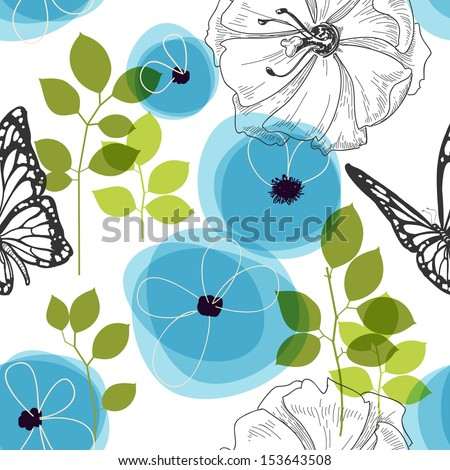 Blue flowers and butterfly over white, nature seamless pattern - stock vector