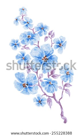 Blue flowers branch watercolor, vector illustration - stock vector