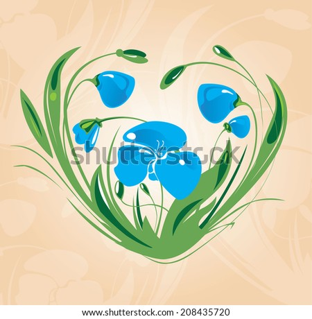 blue flowers in shape of a heart - stock vector