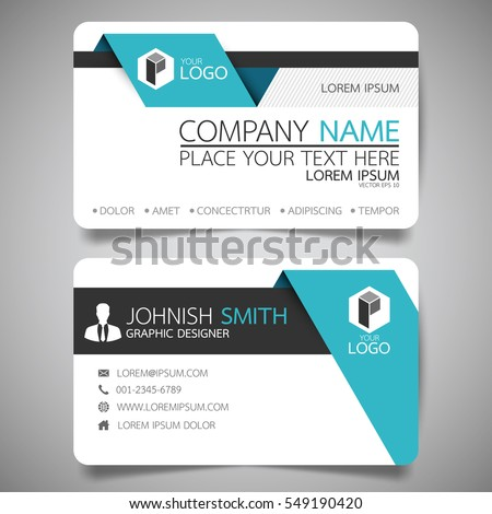Blue fold modern creative business card stock vector 2018 blue fold modern creative business card and name cardhorizontal simple clean template vector design fbccfo Image collections