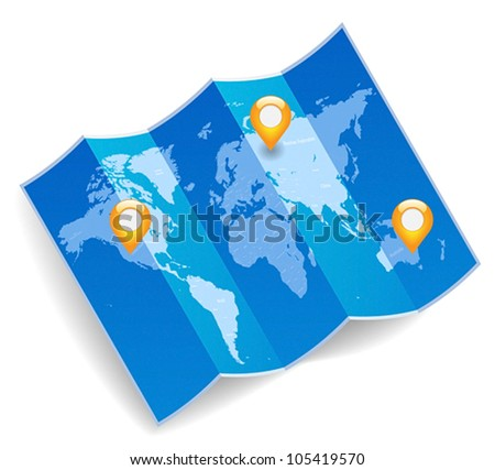 Blue folded world map with gps marks. Vector saved as eps-10, file contains objects with transparency. - stock vector