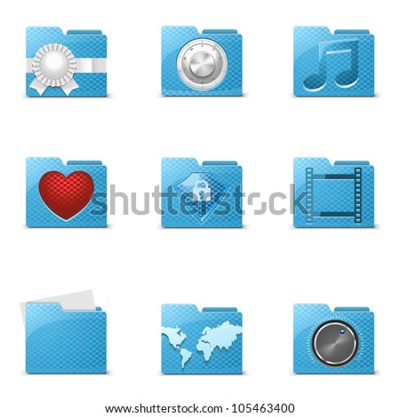 blue folders vector icons - stock vector