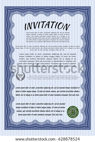 Formal invitation stock images royalty free images vectors blue formal invitation elegant design complex background customizable easy to edit and stopboris Gallery