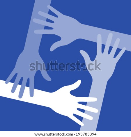Blue Four Hands Icon, vector illustration  - stock vector