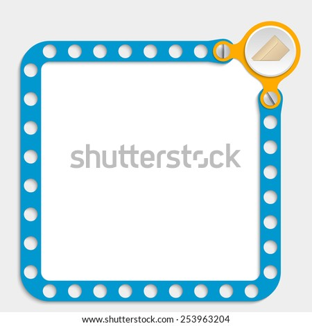 blue frame for any text with screws and envelope - stock vector
