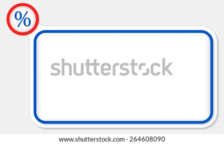Blue frame for your text and percent symbol - stock vector