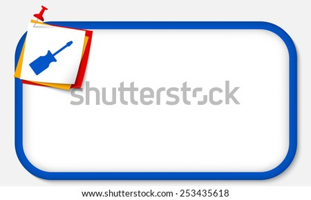 blue frame with pushpin and screwdriver - stock vector