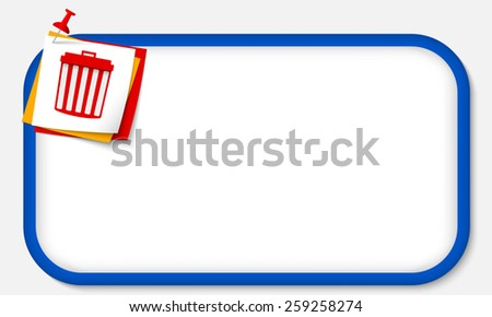 blue frame with pushpin and trashcan - stock vector