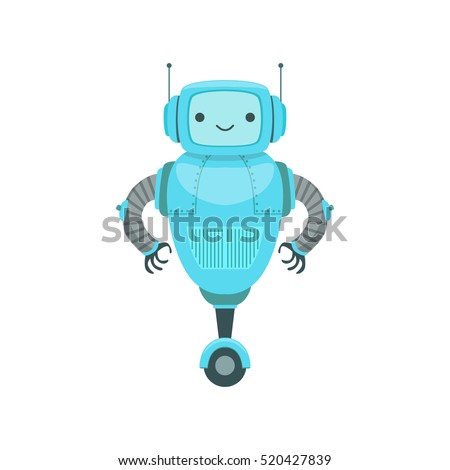 Blue Friendly Android Robot Character Two Stock Vector ...  Blue Friendly A...