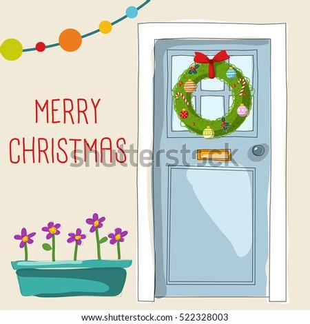 Christmas Front Door Clipart christmas door stock images, royalty-free images & vectors