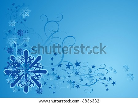 Blue frozen snowflakes abstract border